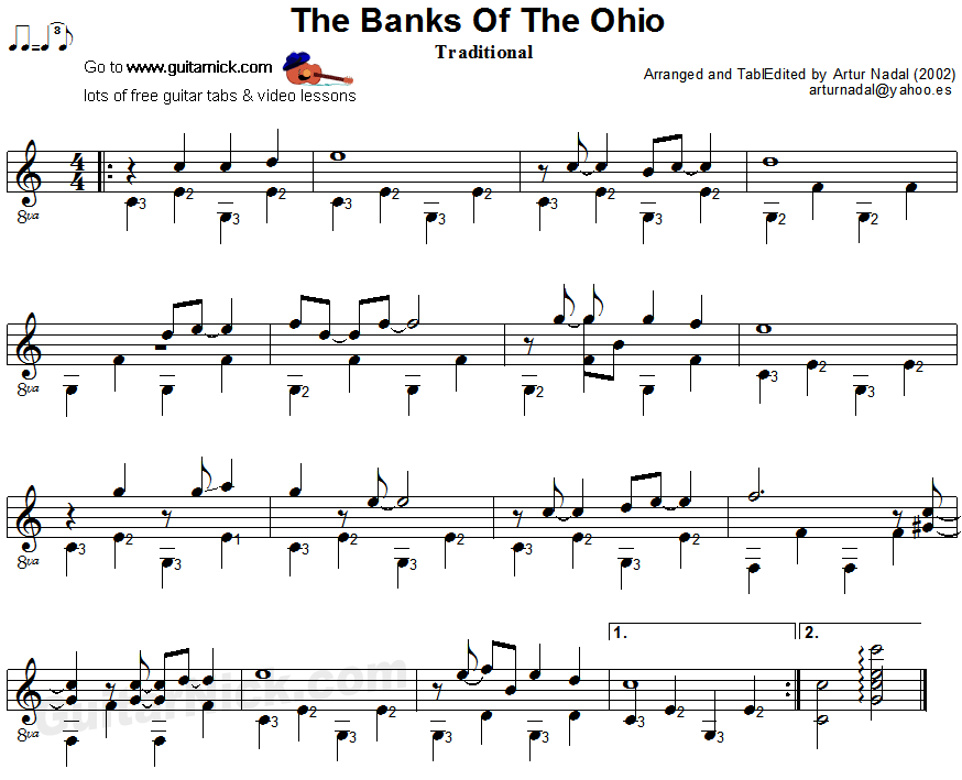 The Banks Of Ohio - fingerpicking guitar sheet music