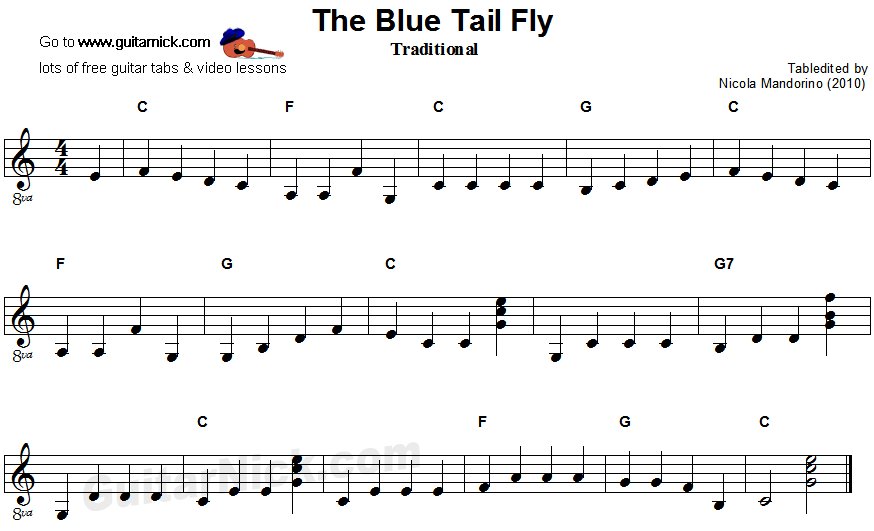 The Blue Tail Fly - easy guitar sheet music