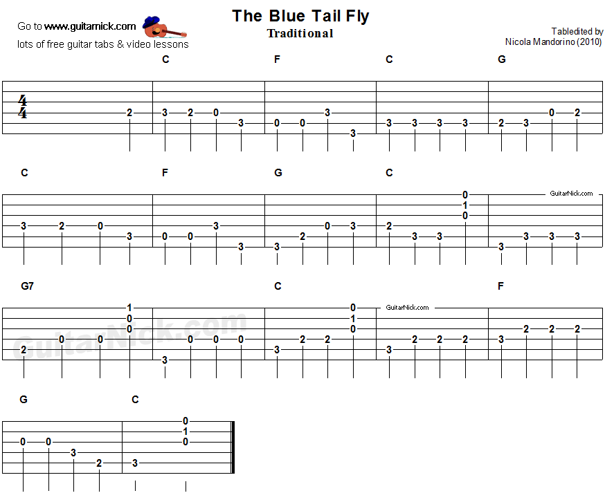 The Blue Tail Fly - easy guitar tablature