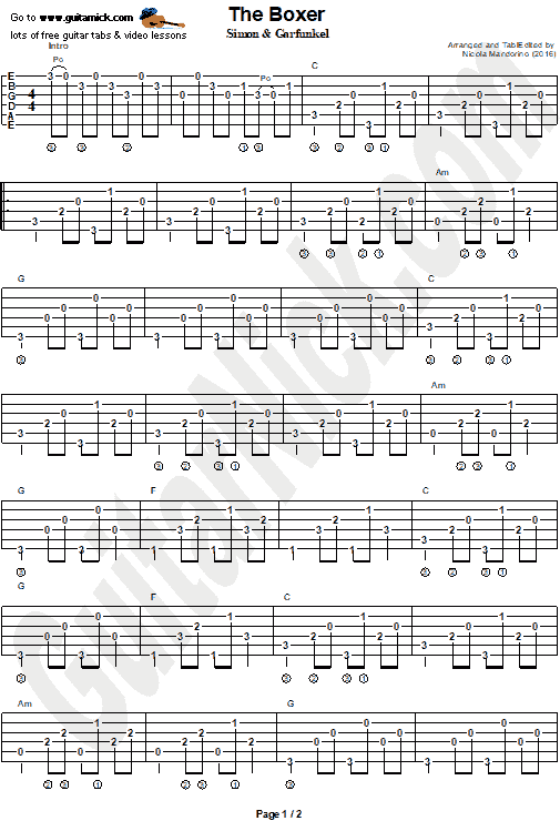 The Boxer - guitar chords tab