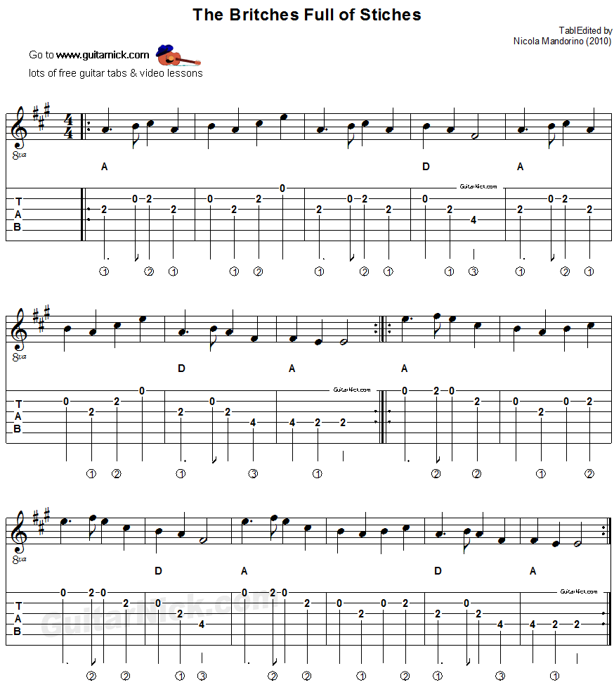 The Britches Full of Stiches - acoustic flatpicking guitar jig, tab, chords, sheet music