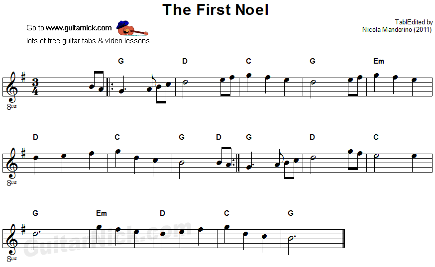 the first noel easy guitar tab. Black Bedroom Furniture Sets. Home Design Ideas