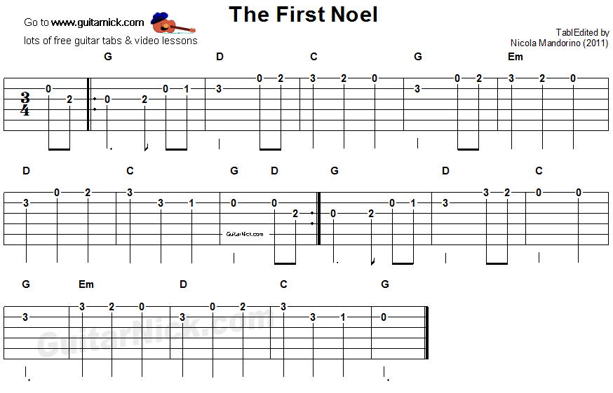 The First Noel - easy guitar tab