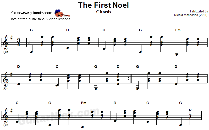 The First Noel - guitar chords sheet music