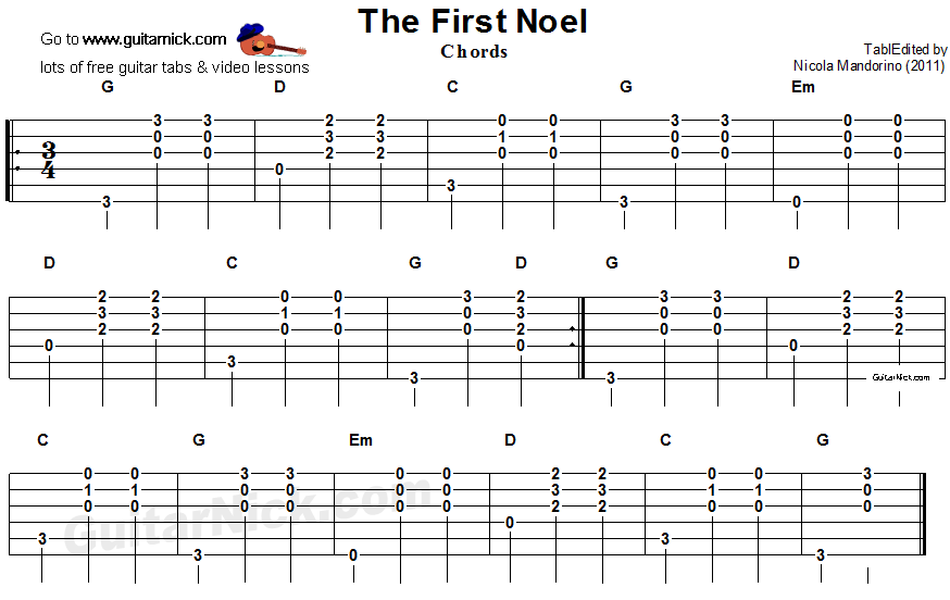 The First Noel - guitar chords tablature