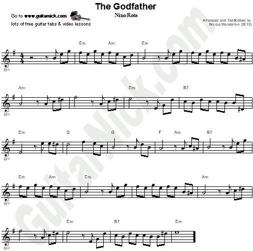 The Godfather | Easy Guitar Sheet Music