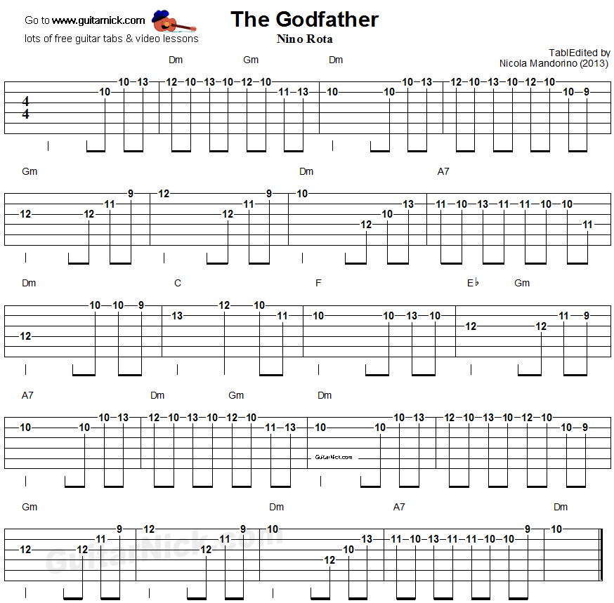 THE GODFATHER Electric Guitar Lesson: GuitarNick.com
