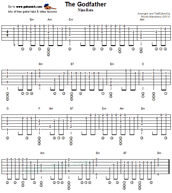 The Godfather - fingerstyle guitar tab