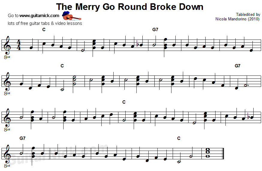 The Merry Go Round Broke Down - easy guitar sheet music