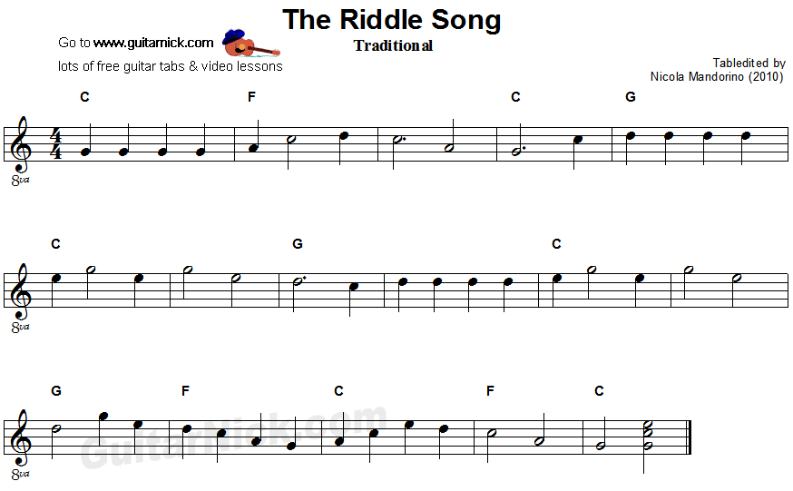 The Riddle Song - easy guitar sheet music