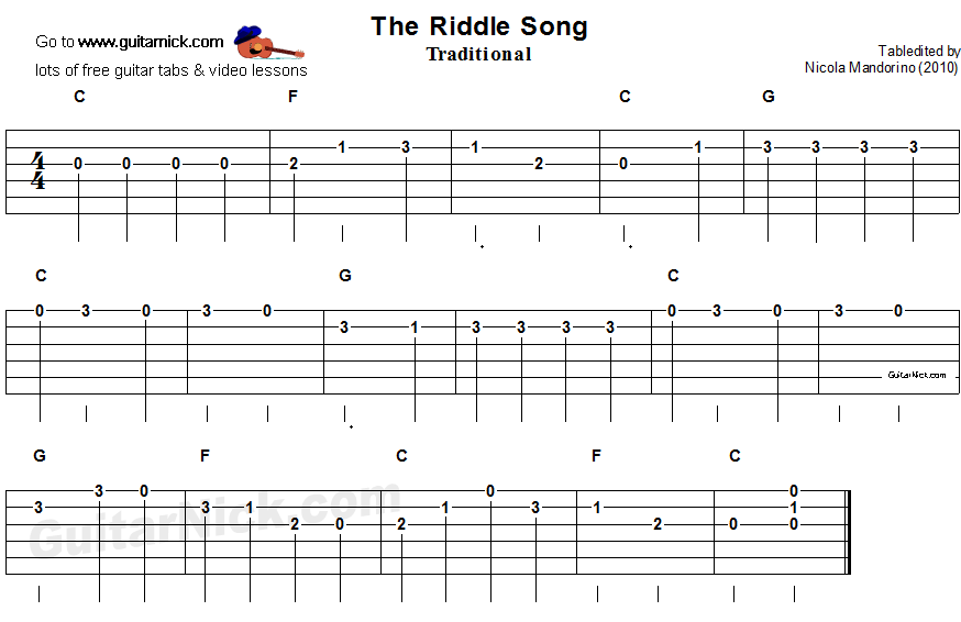 The Riddle Song - easy guitar tab