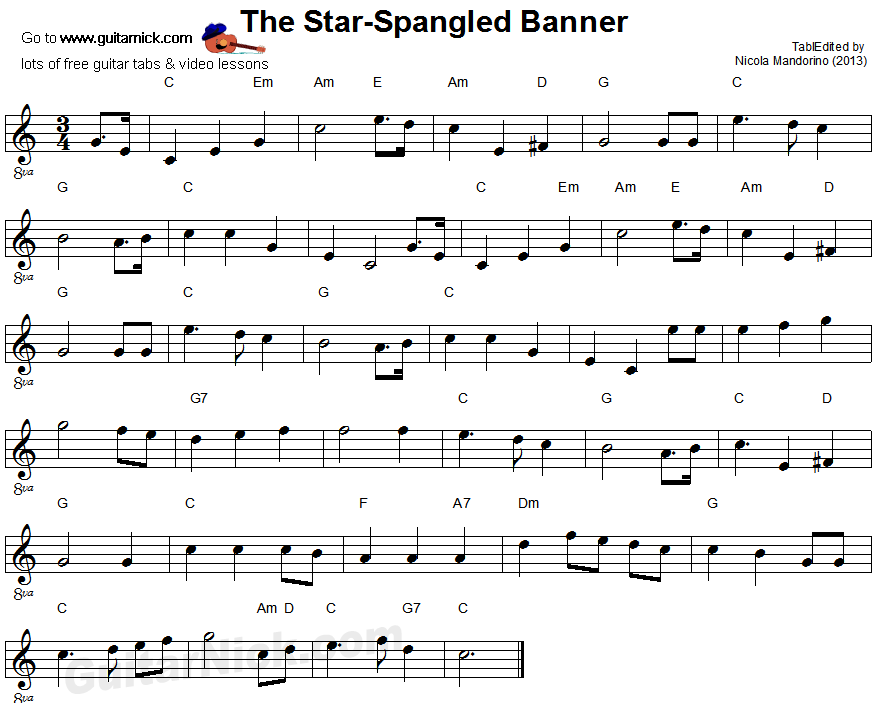 The Star Spangled-Banner - easy guitar sheet music