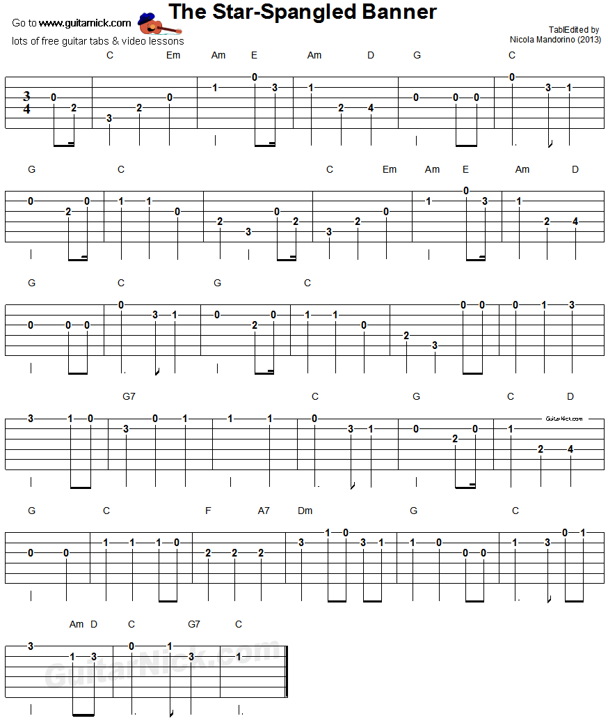 The Star Spangled-Banner - easy guitar tab
