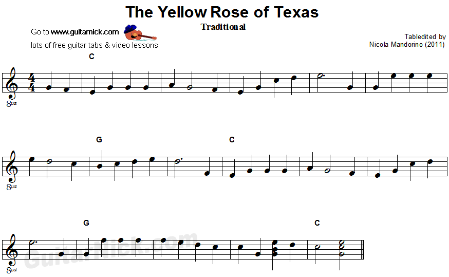The Yellow Rose Of Texas - easy guitar sheet music