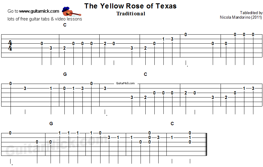 The Yellow Rose Of Texasl - easy guitar tab
