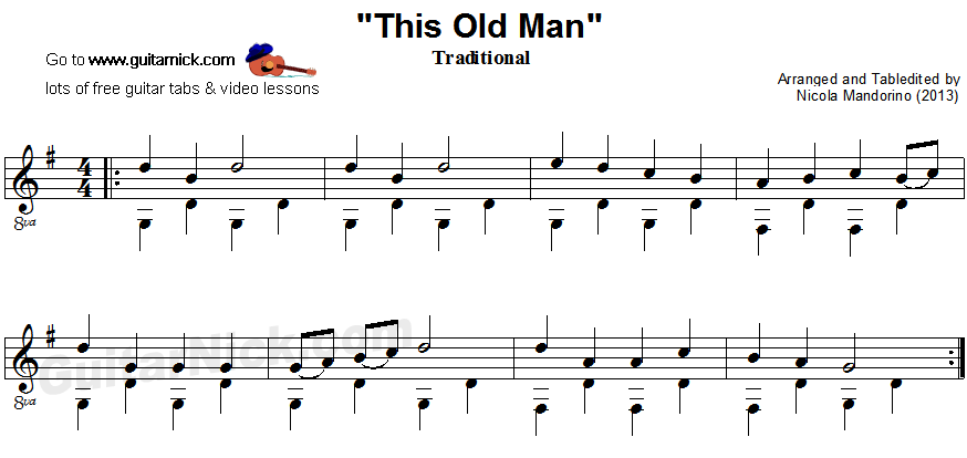 This Old Man - fingerpicking guitar sheet music