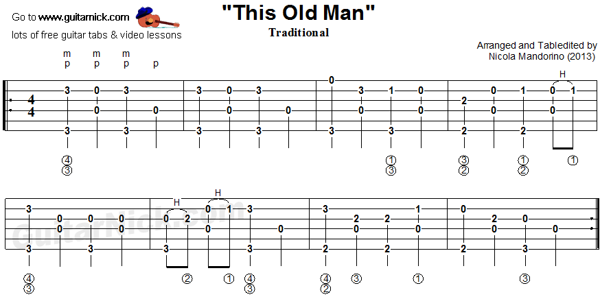 This Old Man - fingerpicking guitar tablature