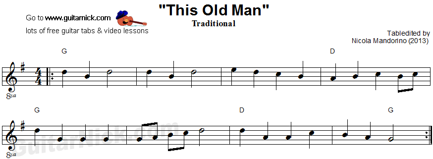 This Old Man - easy guitar sheet music