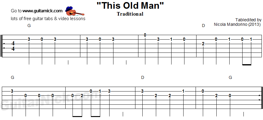 This Old Man - easy guitar tablature