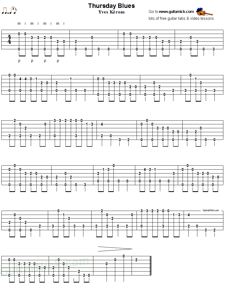 Thursday Blues - fingerstyle guitar tab