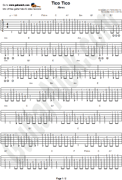 Tico Tico | Easy Guitar Tab