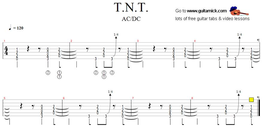 TNT - ACDC - rock guitar tab
