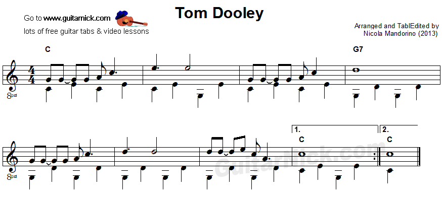 Tom Dooley - fingerpicking guitar sheet music
