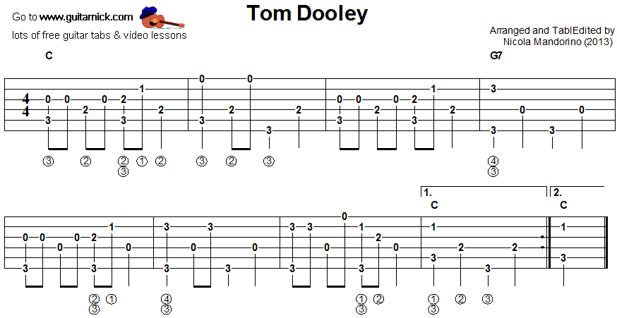 Tom Dooley - fingerpicking guitar tablature