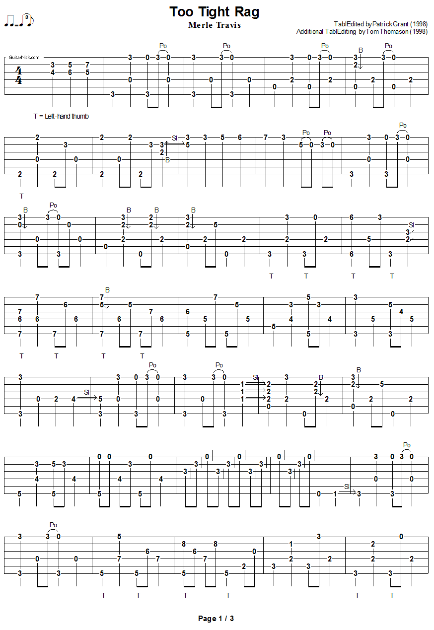 Too Tight Rag - fingerpicking guitar tablature 1