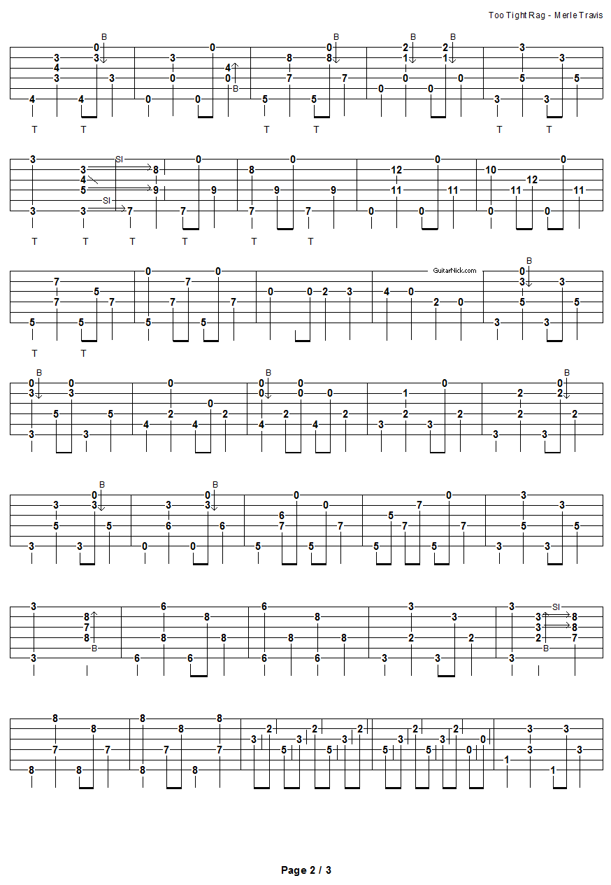 Too Tight Rag - fingerpicking guitar tablature 2