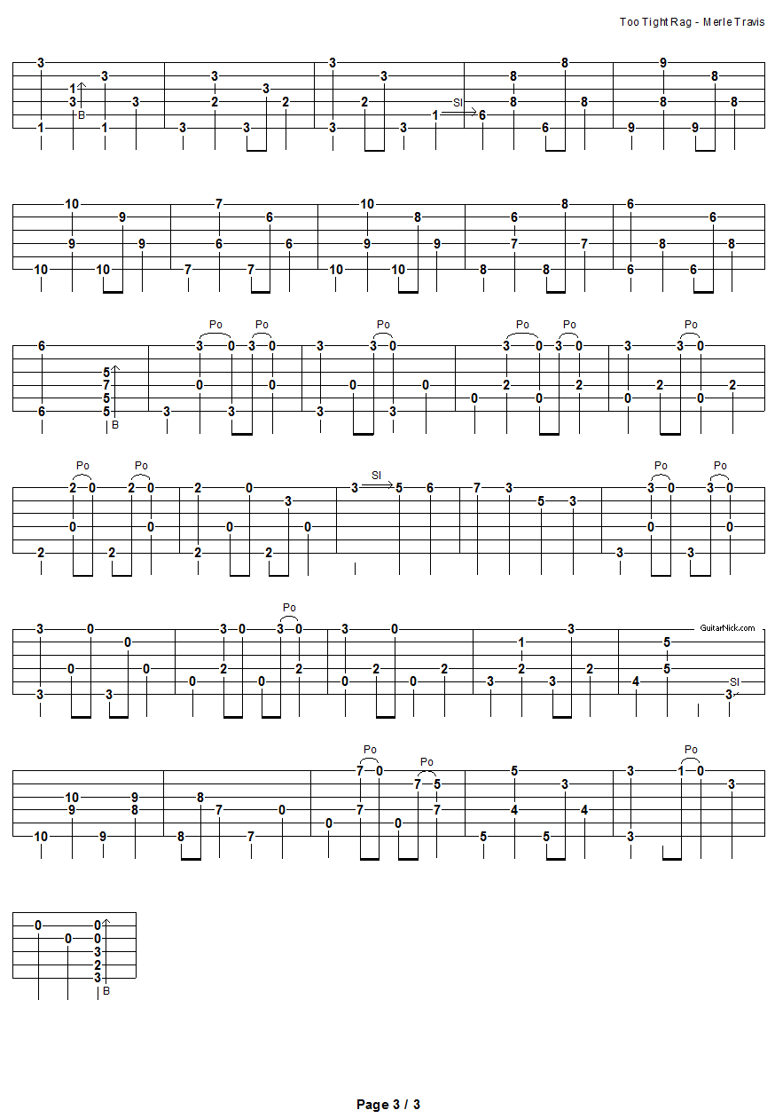 Too Tight Rag - fingerpicking guitar tablature 3
