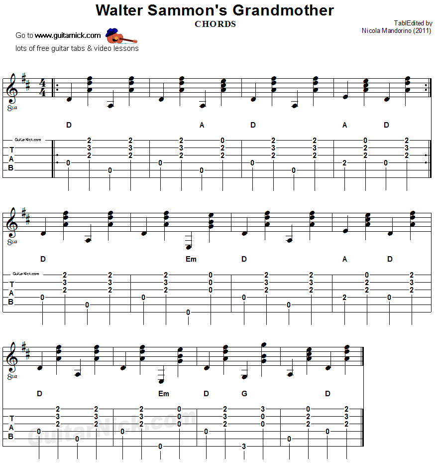 Walter Sammonu0026#39;s Grandmother (chords): guitar TAB - GuitarNick.com