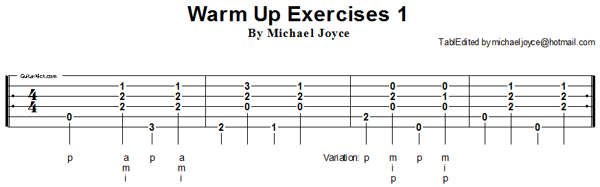 Warm up fingerstyle guitar lesson 1