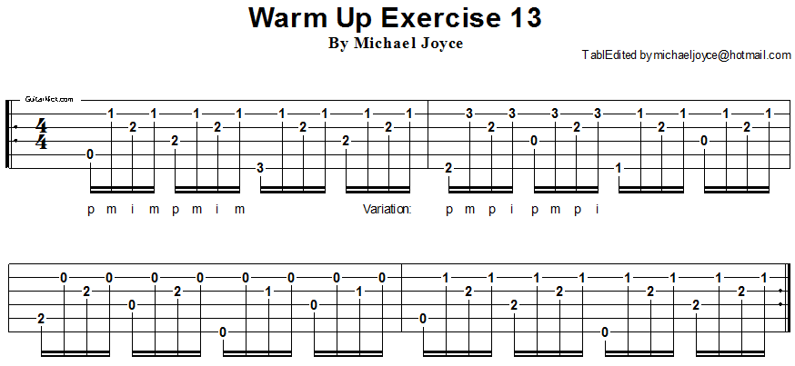 Warm up fingerstyle guitar lesson 13