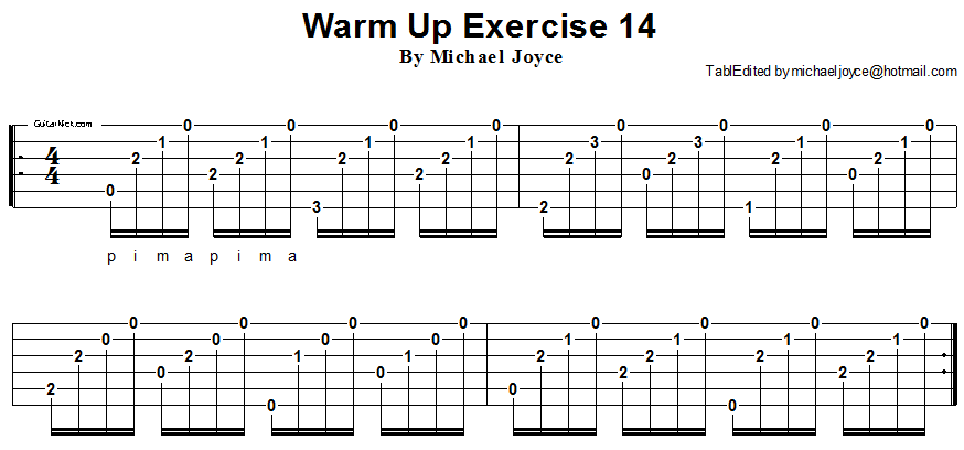 Warm up fingerstyle guitar lesson 14