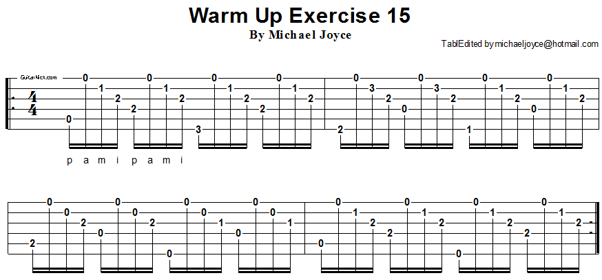 Warm up fingerstyle guitar lesson 15