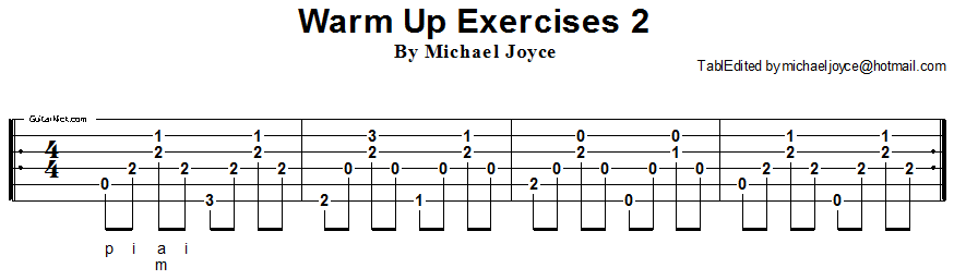 Warm up fingerstyle guitar lesson 2