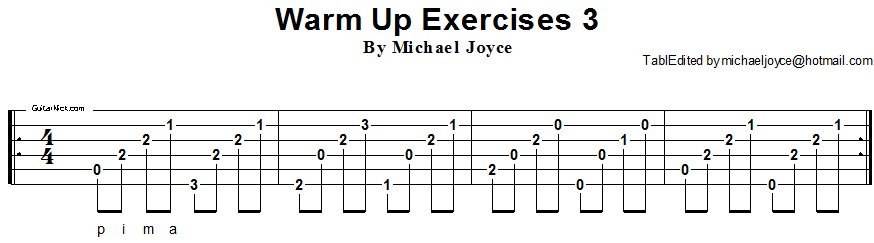 Warm up fingerstyle guitar lesson 3