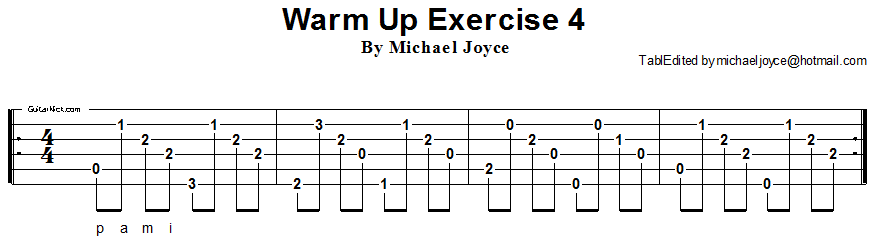 Warm up fingerstyle guitar lesson 4