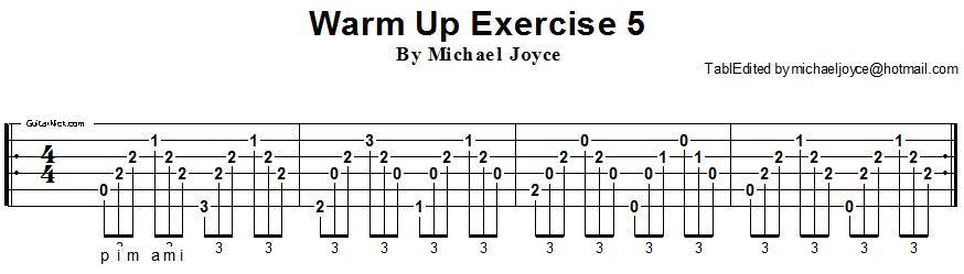 Warm up fingerstyle guitar lesson 5
