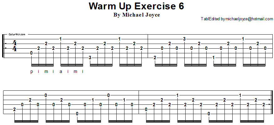 Warm up fingerstyle guitar lesson 6