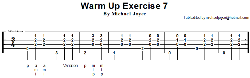 Warm up fingerstyle guitar lesson 7