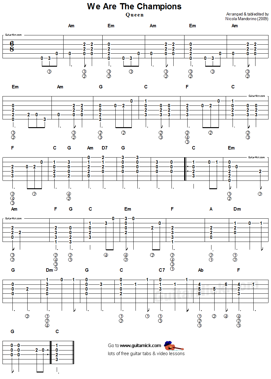 WE ARE THE CHAMPIONS Flatpicking Guitar Tab: GuitarNick.com
