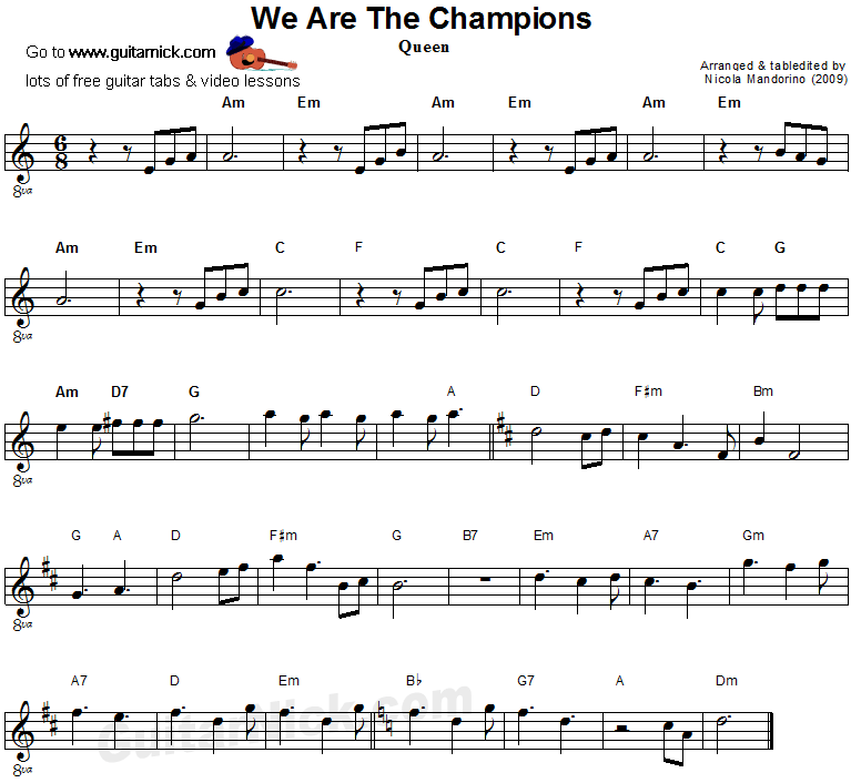 We Are The Champions - easy guitar sheet music
