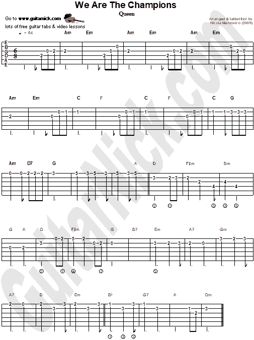 We Are The Champions - easy guitar tab