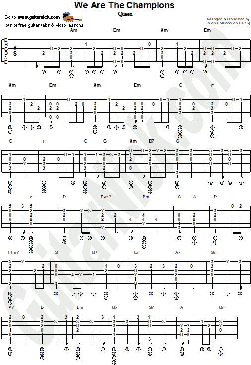 We Are The Champions - Fingerstyle guitar tab