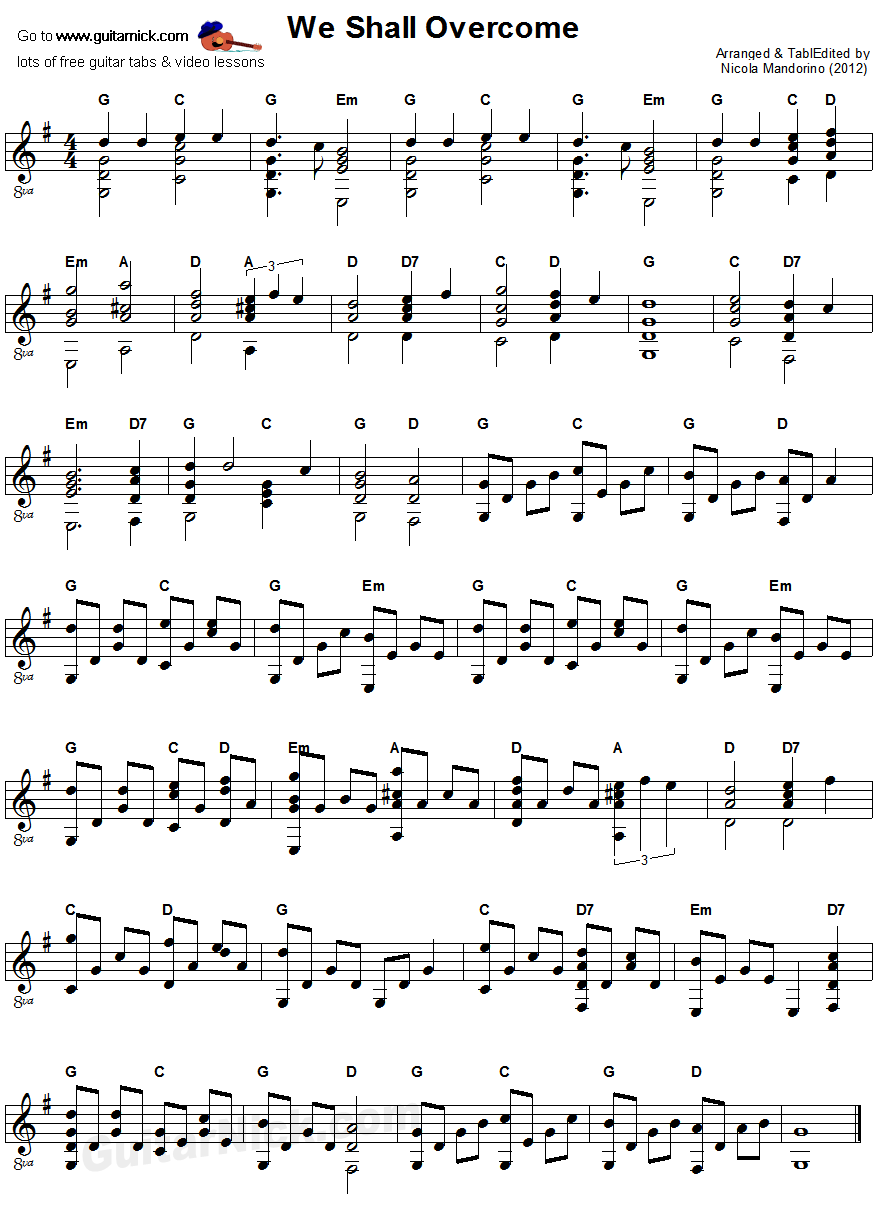 We Shall Overcome - fingerstyle guitar sheet music