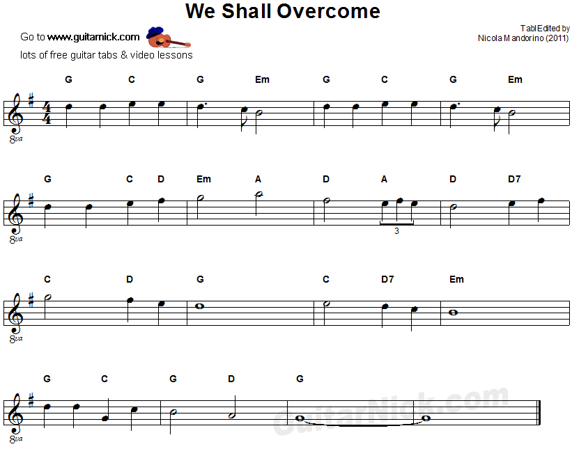 we shall overcome easy guitar tab. Black Bedroom Furniture Sets. Home Design Ideas
