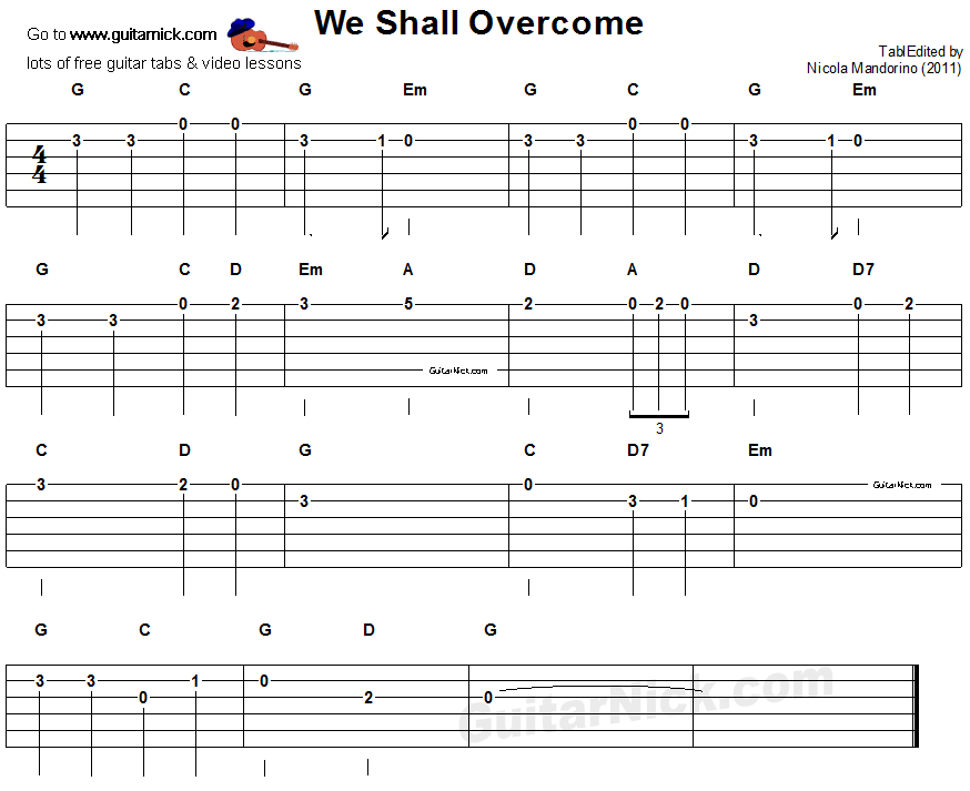 We Shall Overcome - easy guitar tab