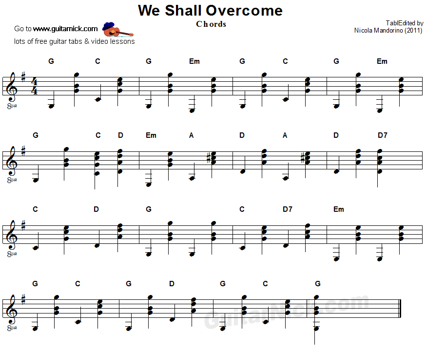 We Shall Overcome - guitar chords sheet music